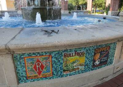 The downtown fountain in Winter Garden gers its colorful mosaic designs from historic citrus-box labels.