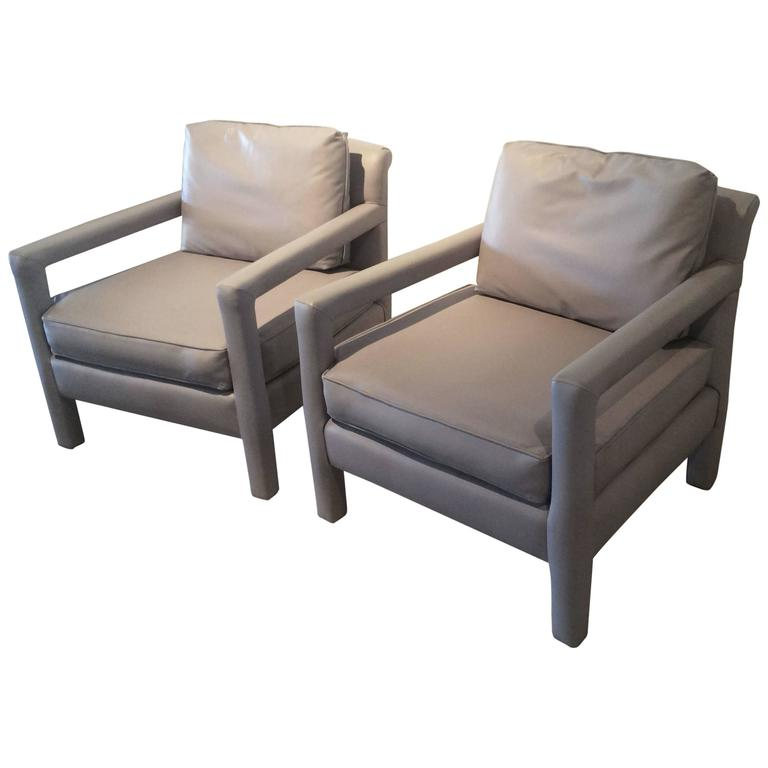 grey parson chair covers velvet amazon parsons chairs vintage pair of leather arm milo baughman style | florida regency