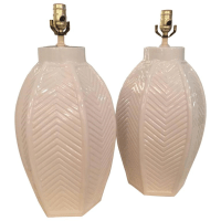 Pair Vintage Oversized White Ceramic Chevron Table Lamps