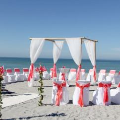 Coral Sashes For Wedding Chairs Dorothy Draper Florida Destination Beach Packages 941-320-3364