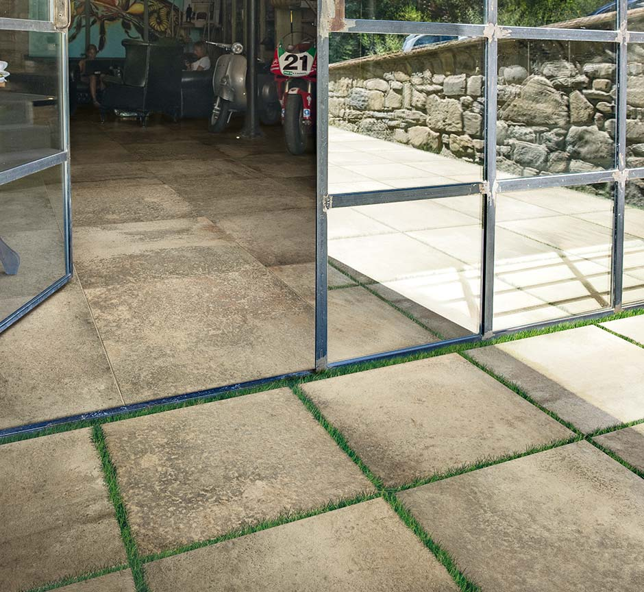how to lay outdoor tiles on grass