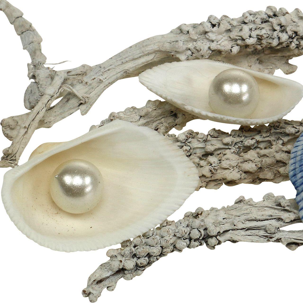Deko Mix Muschel Mit Perle Und Holz Wei Blau 200g