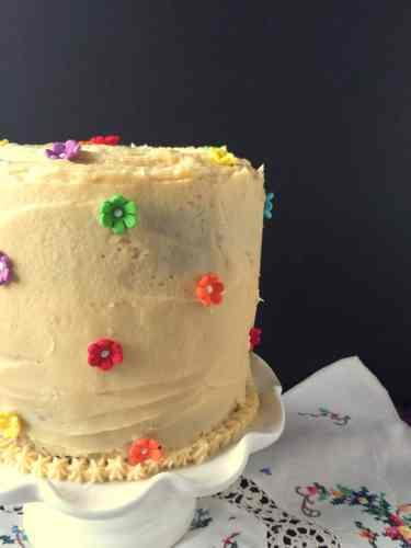 Chocolate Malt Cake w Malt Vanilla Frosting