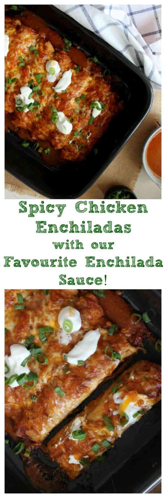 Spicy Chicken Enchiladas with our Favourite Enchilada Sauce