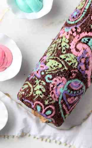 Patterned Chocolate Roll Cake