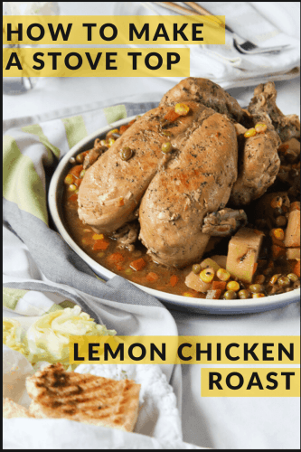 a plate with a skinless lemon chicken roast that is made stove top.