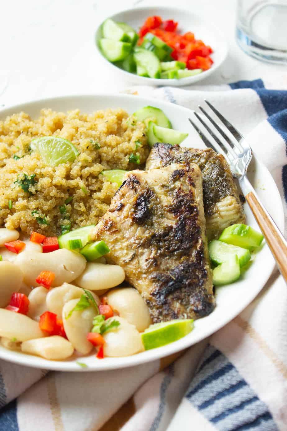 Jerk Fish Bowl with beans, quinoa,fish