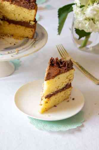 A slice of Perfect Vanilla Cake with Easy Chocolate Frosting
