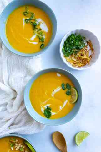 Top down images of bowls instant pot carrot soup