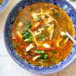 a bowl of hot and sour soup top down