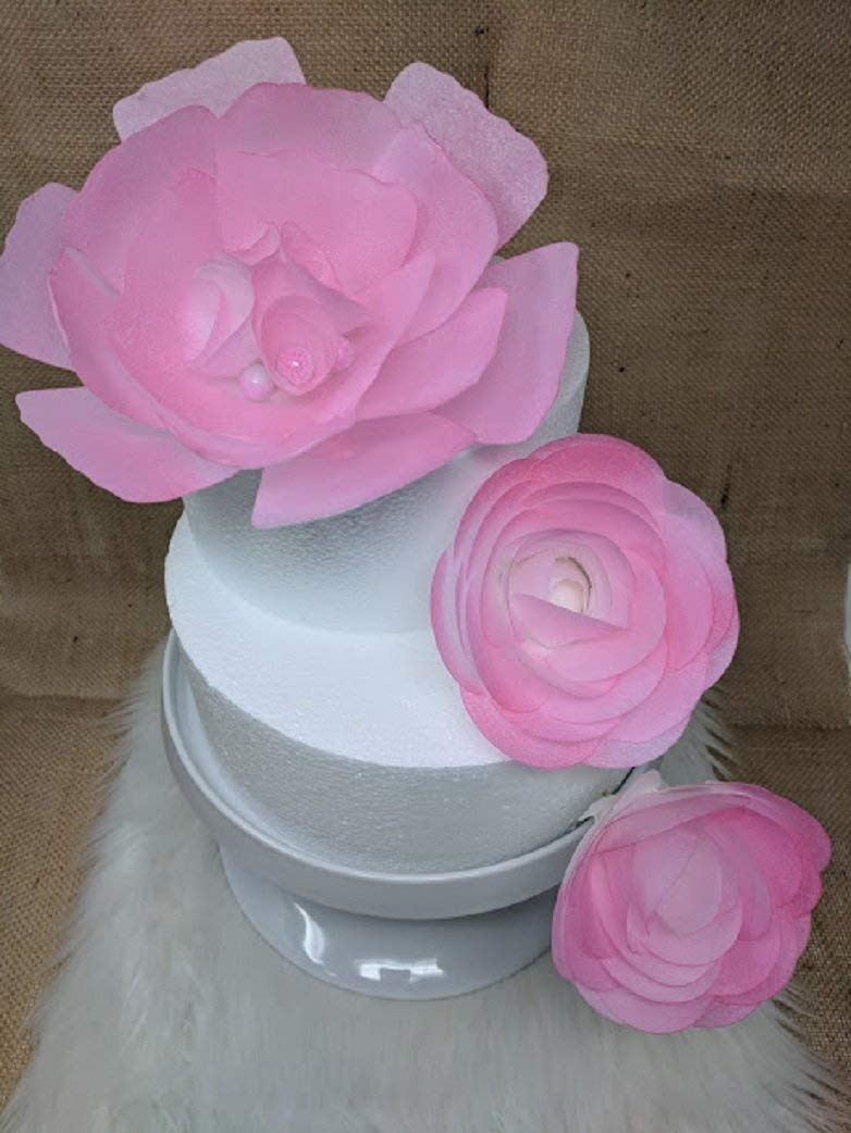3d Edible Rice Paper Damask Rose Flower For Cake Decoration 3d Cake