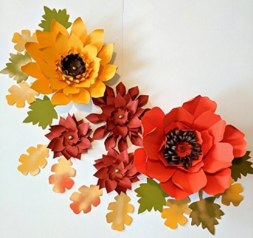 Paper flowers fall backdrops includes 5 paper flowers 14 paper paper flowers mightylinksfo