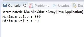 find minimum and maximum values in a java array