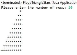 Floyd's triangle star pattern in java