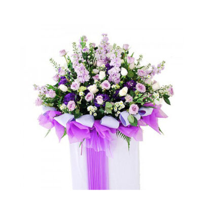 funeral-flowers-heartfelt,lavender flowers combination