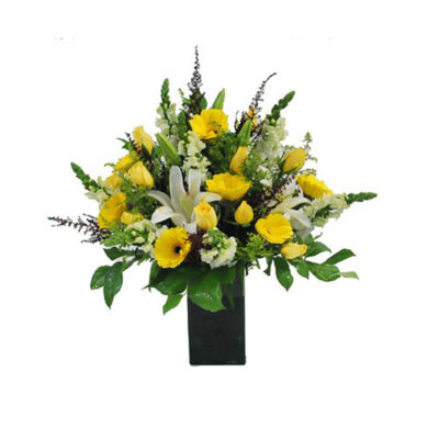yellow, white, and green in floral vase