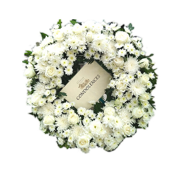 White funeral wreath