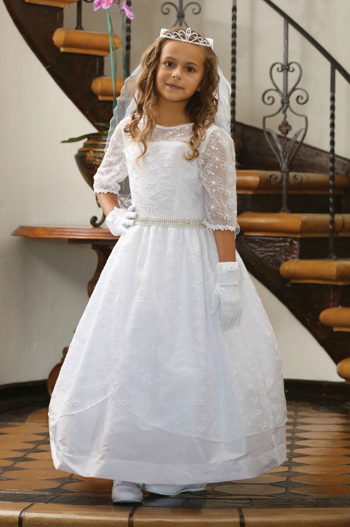 AG_DR1626  Girls Dress Style DR1626  Three Quarter Sleeve Dress with Beaded Waist  All First