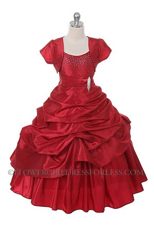 CB_0308R  Girls Dress Style 0308REDSatin Spaghetti