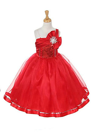 KK_2061R  Flower Girl Dress Style 2061 RED One Shoulder