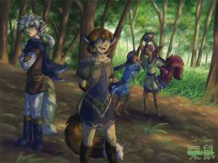 Old painting of animal cast as anthros.
