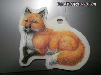 Pendant of Fawna made with coloured pencils.
