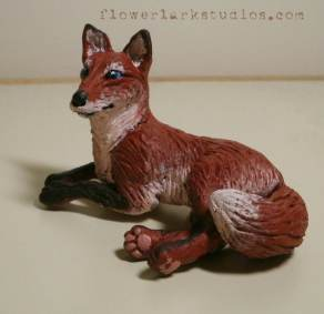 Sculpture of Fawna made with Sculpey clay.