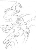 Old sketches of wyverns.