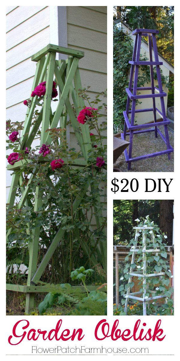 Easy DIY Garden Obelisk you can create for your garden today for about $20. Paint it any color you like or stain it for a rustic look. Either way it will soon be covered by flowers and vines and look fabulous!