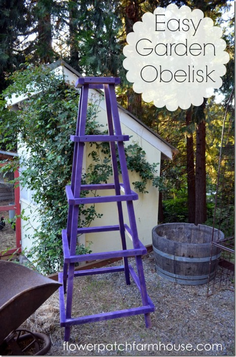Build yourself an easy garden obelisk for $20. Works great as a tomato support, rose trellis or for anything needing to climb.