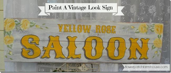 DIY Yellow Rose vintage saloon sign
