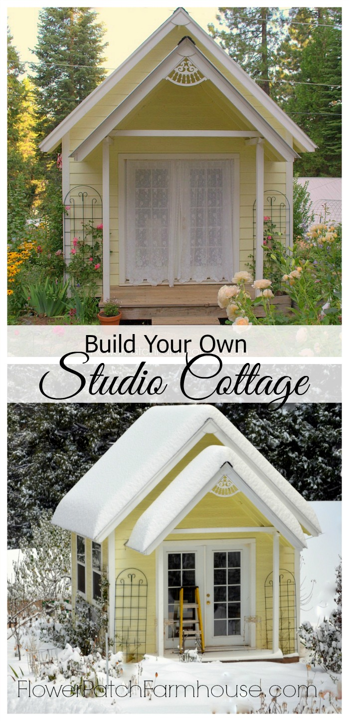 Build Your Own She Shed, Studio Cottage or Garden Shed.  Anyway you spell it this is the best gift you can give yourself, a space of your own.  For work, crafts, blogging or gardening, a space like this is invaluable. Link to plans is included.