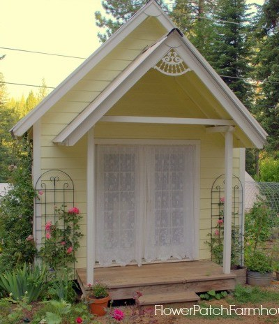 She Shed DIY Studio Garden Cottage studio, FlowerPatchFarmhouse.com