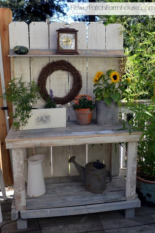 Potting Bench Decorated For Fall Still No Mantel Flower