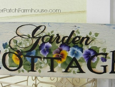 Hand Painted Pansy Garden Cottage sign