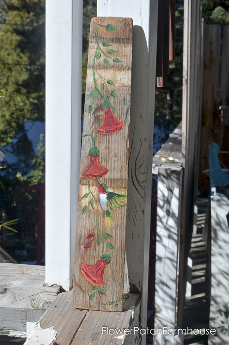 Hand Painted Hummingbird on a Barrel Stave, FlowerPatchFarmhouse.com