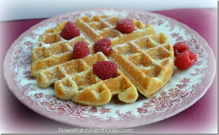 Delicious Buttery Homemade waffles. FlowerPatchFarmhouse.com