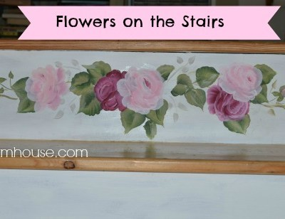 rose painting on stairs