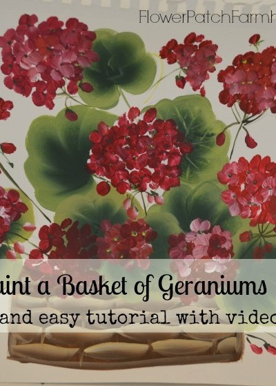 How to Paint a Basket of Red Geraniums tutorial