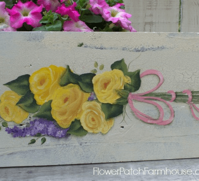hand painted yellow roses