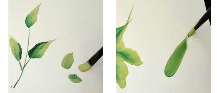 How to Paint Leaves, one stroke at a time. Easy and can be adapted for many projects.
