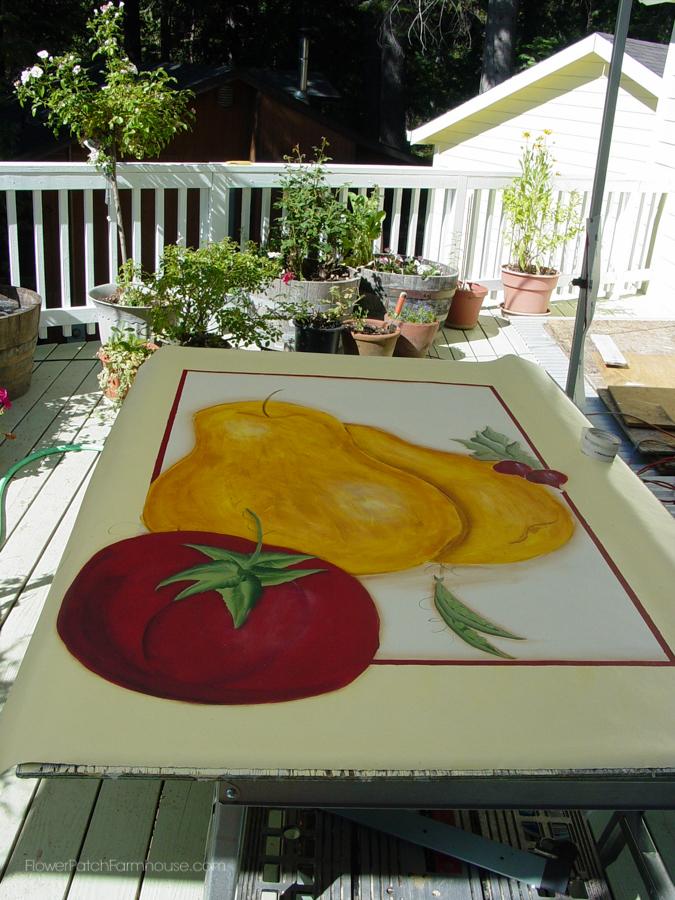 paint a floorcloth on linoleum - flower patch farmhouse
