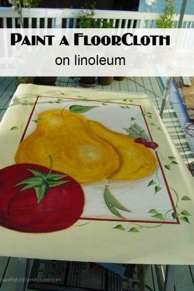 Hand painted Floor cloth on linoleum remnant