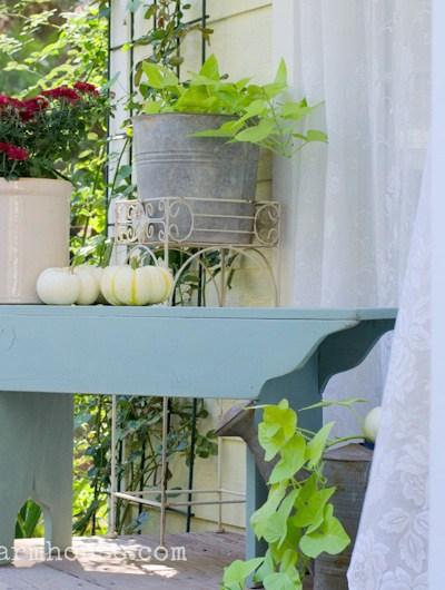 A Fall Porch and a Farmhouse Bench