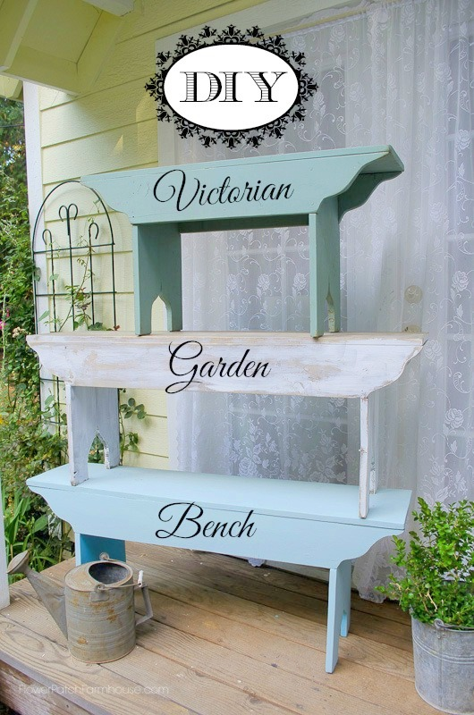 # DIY benches stacked on each other with text overlay, DIY Farmhouse Bench, Flower Patch Farmhouse