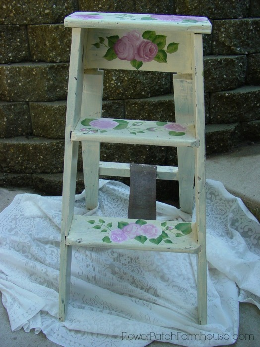 Ladder painted with roses, FlowerPatchFarmhouse.com