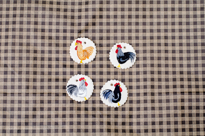 Clay tags painted with roosters, FlowerPatchFarmhouse.com
