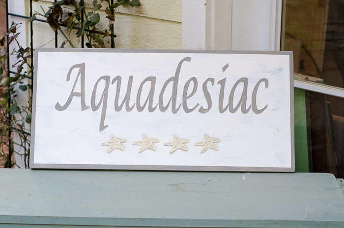 Aquadesiac hand painted sign, FlowerPatchFarmhouse.com