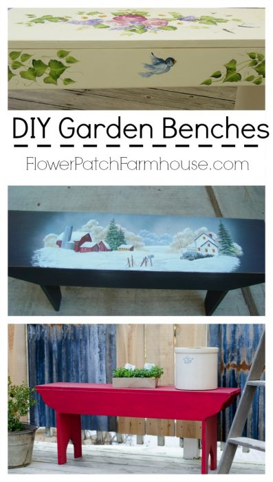 DIY Garden Benches Hand Painted, link to plans and to painting tutorials, FlowerPatchFarmhouse.com