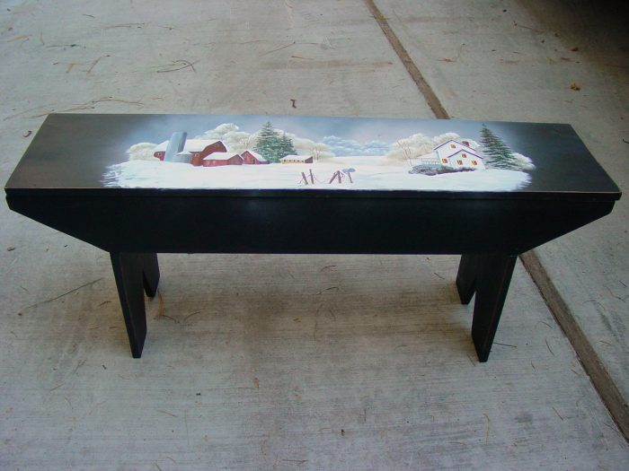 DIY Farmhouse Bench painted with winter scene, FlowerPatchFarmhouse.com